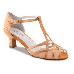 Chaussure de danse pour femme Anna Kern 540-50 est en satin couleur peau (flesh), très élégante et confortable, filet transparent, bride en T, se ferme sur le coup de pied, talon 5 cm. Idéal pour danse de salon. Danceworld à Bruxelles