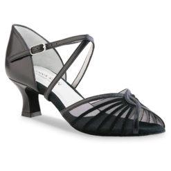 Chaussure de danse pour femme Anna Kern 624-50 est en cuir noir souple, très confortable et élégante, petite ouverture sur les orteils, brides croisées sur le pied pour un bon maintien, filet noir transparent, talon 5 cm. Idéal pour danse de salon. Danceworld à Bruxelles