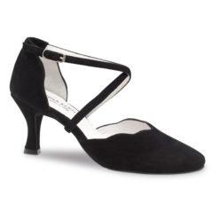 chaussure de danse pour femme anna kern 672-60, chaussure de danse de salon, en daim noir fermé, très souple et confortable, bride croisée sur le coup de pied, talon 6 cm, idéal pour danse de salon, danceworld à bruxelles