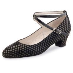 chaussure de danse pour femme werner kern alice 34, chaussure de danse de salon, très confortable avec sa semelle confort (ergonomique), sa lanière croisé autour de la cheville en vernis, élégante avec son design quadrillé, idéal pour danse de salon, danceworld bruxelles