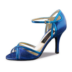 chaussure de danse pour femme nueva epoca angeles 8, en cuir bleu azur, très confortable, design peau de serpent, bride coup de pied, talon 8 cm, idéal pour danse de salon, danceworld à bruxelles