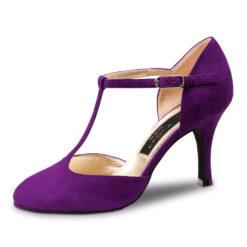 Chaussure de danse pour femme Nueva Epoca Corazon 8 est en daim de couleur parme,très souple et très confortable, tige en T, chaussure fermé, talon 8 cm, Idéal pour danse de salon et danse latine. Dnceworld à Bruxelles