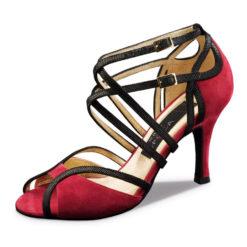 Chaussure de danse pour femme Nueva Epoca Cosima 7 est en daim rouge et noir, double brides croisées sur le pied, ouverture sur les orteils, talon 7 cm. Idéal pour danse de salon, Danceworld à Bruxelles