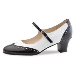 chaussure de danse pour femme werner kern, chaussure de danse swing, en cuir souple, très confortable, bride coup de pied, en noir et blanc, idéal pour danse swing, danceworld à bruxelles