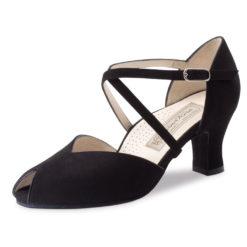 chaussure de danse pour femme werner kern fatima 60, chaussure de danse de salon, en daim noir, très souple et confortable grâce à sa semelle ergonomique, brides croisées sur le pied,petite ouverture pour les orteils, talon 6 cm, idéal pour danse de salon, danceworld à bruxelles