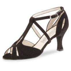 chaussure de danse femme werner kern francis 65, chaussure de danse de salon, lanières réglables séparément, en daim noir, très confortable, danceworld bruxelles