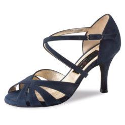 Chaussure de danse pour femme Nueva Epoca Gracia 7 est en daim bleu, très élégante avec ses ouvertures sur le devant du pied et le dessus, brides croisées sur le pied pour un bon maintien, talon 7 cm. Idéal pour danse de salon. Danceworld à Bruxelles