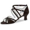 chaussure de danse pour femme, chaussure de danse de salon, double lanières croisées, ouverture devant, conçu pour pied étroits, en daim noir