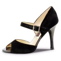 Chaussure de danse pour femme Nueva Epoca Nora 9 est en daim noir, très élégante avec ses 9 cm de talon recouvert de cuir, bride sur coup de pied, très confortable, ouverture sur les orteils. Idéal pour danse de salon, Danceworld à Bruxelles