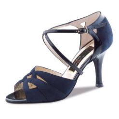 chaussure pour femme nueva epoca rosita 6, chaussure pour femme de danse de salon, talon de 6 cm en daim bleu, lanière coisées sur le pied. danceworld