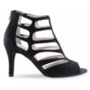 Chaussure de danses de salon ANNA KERN 860 Heel 75, daim noir, modèle ouvert, semelle daim, talon 7.5 cm.