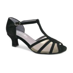 Chaussure de danses de salon pour femme MERLET Karmina, daim noir et filet résille transparent, talon 6 cm
